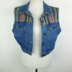 3/$15 VTG 90s California Concepts Stripe Jean Vest